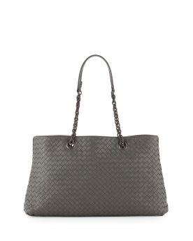 Elegant Style Bottega Veneta Two Compartments Womens Gray Intrecciato Double Chain Tote Bag Replica