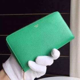 Celine Yellow Gold Logo Print Two Expanding Compartments Ladies Green Goatskin Zipped Multifunction Long Wallet