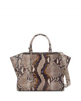 Fendi Trois-Jour Mini Gray Python Tote Bag Neutral Style Leather Trim Black Enamel Bar Sale