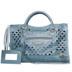 Fashionable Balenciaga Polka Dot Classic City Bags Soft Leather Shoulder Strap Brass Buckles  Light Blue