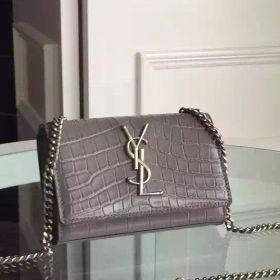 Saint Laurent Kate Silver-toned Hardware Logo Monogram Ladies Grey Crocodile Leather Small Fake Satchel Bag
