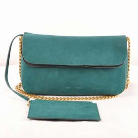Top Style Celine Gourmette Black  Leather Detail Brass Chain Shoulder Strap Female Green Suede Crossbody Bag