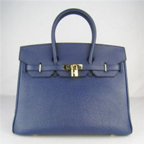 Stylish Hermes Birkin Lady Dark Blue Togo Leather Handbag Gold-plated Lock Price In India