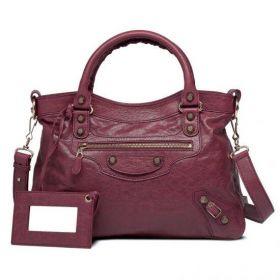 Imitation Balenciaga Giant 12 Town Brass Zipper Pocket Womens Cassis Top Handles Lambskin Shoulder Bag