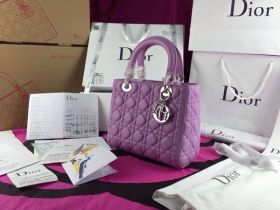 Replica Christian Dior 2018 Lady Dior Purple  Cross-Body Cannage-Pattern Tote Bag Italy Sale Silver Hardware