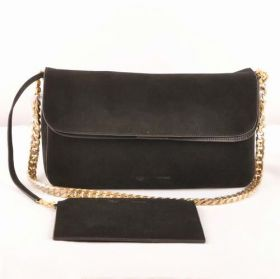 Womens Celine Classic Gourmette Yellow Gold Hardware Flip-over Flap Female Chain Crossbody Bag Suede Leather