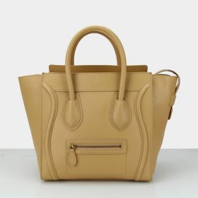 Imitation Celine Womens Luggage Outer Brass Zipper Pocket Tubular Top Handle Apricot Smooth Leather Large Tote