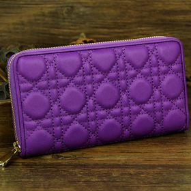 Replica Christian Dior  Sheepskin-Quality Leather Cannage-Texture  Escapade Purple Pocketbook Multi-Compartments Golden Around-Zip