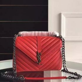 2018 Saint Laurent Red Goatskin Leather Silver Logo Buckle Medium Ladies College Bag With Zipper Compartment