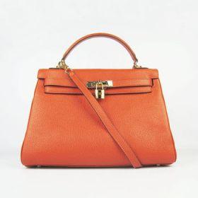 Hermes Kelly Orange Togo Leather Bag Imitation Gold-plated Padlock 32cm Shoulder Strap Shopping For Sale