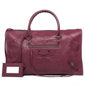 New Arrival Balenciaga Aged Brass Studs Classic Work Zipper Flat Pocket Tote Bag For Womens Cassis