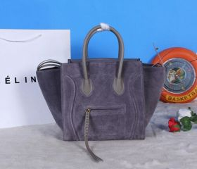 Best Celine Phantom Smooth Leather Rounded Handles Woven Zipper Puller Ladies Dark Grey Suede Bag