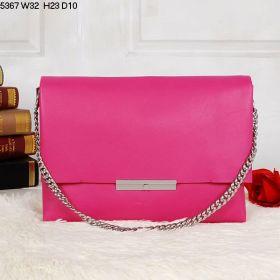 Summer Fashion Celine Blade Flap Silver Chain Strap & Flap Bar Motif Ladies Calfskin Shoulder Bag Peach