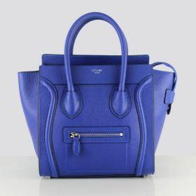 Celebrity Style Celine Medium Luggage Silver Hardware Suede Lining Neon Blue Drummed Leather Handbag For Womens