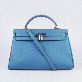Hermes Kelly Silver Padlock Blue Togo Leather Handbag Single Handle 35cm Review Europe Sale Lady