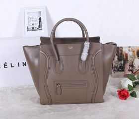 Celine Large Luggage Extensible Sides Yellow Gold Zipper Top Closure High-quality Dark Grey Leather Tote