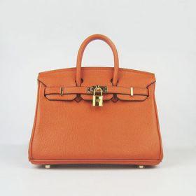Best Selling Hermes Birkin Replica Orange Cowhide Leather Golden Lock Buckle 25cm Handbag Retro Style