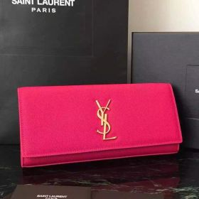 Top Sale Saint Laurent Kate Rosy Leather Yellow Gold YSL Monogramme Ladies Fake Clutch Bag