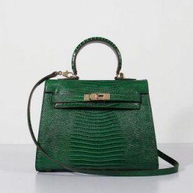 Hermes 28CM Kelly Green Lizard Leather Bag Top Handle Golden Buckle Sale New York