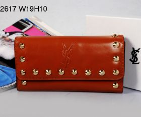 Yves Saint Laurent YSL Logo Printed Studs Trim Ladies Earth Yellow Leather Flap Purse NYC Price