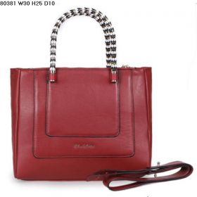 Best Bvlgari Serpenti Black-White Enamel & Golden Handles Womens Purplish Red Ferrari Leather Tote Bag