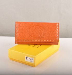 Fendi Selleria Orange Calfskin Leather Long Wallet Chic Tide Girls 2018 Street Fashion