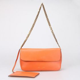 Celine Gourmette Yellow Gold Logo Printing Interior Zipper Bag Ladies Fashion Ferrari Leather Flap Handbag Orange