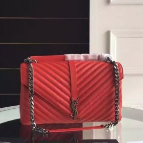 """Imitation Saint Laurent College """"Y"""" Quilted Large Womens Red Goatskin Chain Strap Monogram Bag For Sale"""