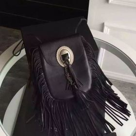 Saint Laurent Anita Brushed Silver YSL Pendant Black Calfskin Leather Fringed Flat Bag For Girls Replica