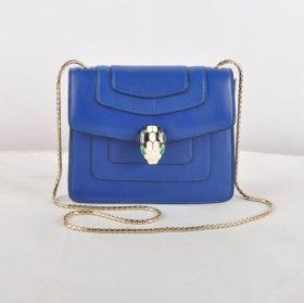 Good Reviews Bvlgari Serpenti Light Gold Hardware Womes Blue Original Leather Chain Strap Bag 281225