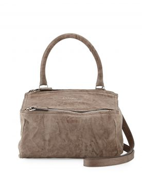 Summer Mini Givenchy Pandora Silver Zipper Closure Single Top Handle Ladies Charcoal Crinkled Leather Tote Bag