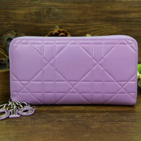 Christian Dior Escapade  Lavender Cannage-Pattern Leather  Wallet City Lady Sale Silver Zipper Style