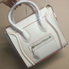 Top Sale Celine Luggage Orange Trimming Womens Medium Beige Leather Tote Bag With Silver Hardware