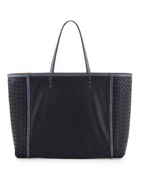 Bottega Veneta Ladies Navy Medium Snakeskin Edges Woven-Sides Soft Napa Leather Flat Handles City Bag