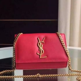 Saint Laurent Kate Large Logo Buckle Yellow Gold Plated Hardware Womens Red Leather Crossbody Bag