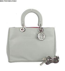 Replica Christian Dior 2018 Diorissimo Light-Grey  Cross-Body Nappa-Pattern Tote Bag On Sale Siver Hardware