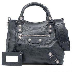 Retro Balenciaga Giant 21 Silver Studs & Zipper Pocket Motif Female Anthracite Velo Handbag With Hand Mirror