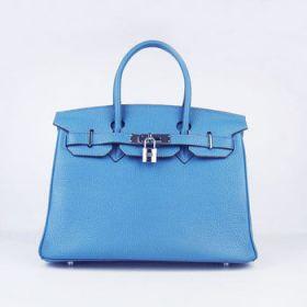 Replica Hermes Birkin 30cm Blue Togo Leather Handbag Silver Lock With Key Seaside Holiday USA