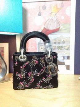 Replica Christian Dior Lady Dior Chic Black  Leather Flowery Jewelry Decorated Dual-Tote Bag  Business Women