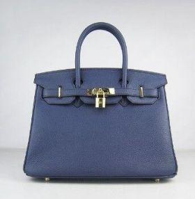 Hermes Birkin Phony 25cm Handbag Dark Blue Cowhide Leather Golden Lock Buckle Price In Europe