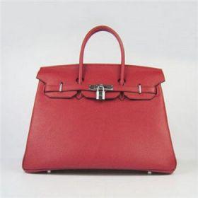 Hermes Birkin 35cm Red Togo Leather Handbag Silver Lock Kris Jenne Style Sale Canada 2018
