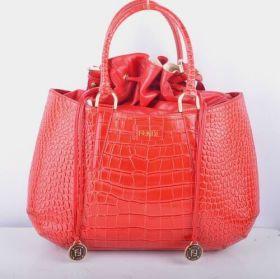 Fendi B Fab Large Red Crocodile Veins Leather Top-handle Bag Christmas Gift Lady