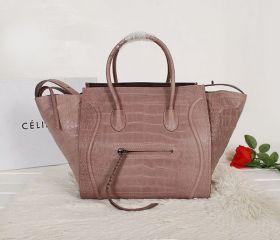 Celine Special Edition Silver Hardware Strap Trimming & Braided Tassel Zipper Motif Grey Croco Womens Phantom Bag