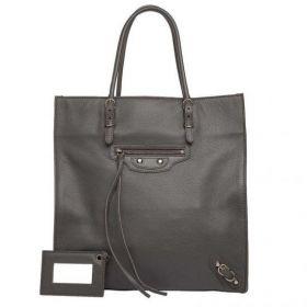 Unique Model Balenciaga Papier A5 Wide Base Buckle & Belt Detail Womens Poivre Brun Lambskin Tote Bag