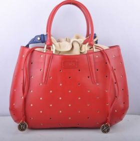 Fendi B Fab Red Leather Perforated Large Bag Top-handle Drawstring Closure Malaysia