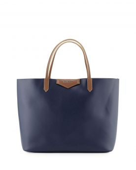 Low Price Givenchy Antigona Brown Leather Detail Ladies Large Dark Blue Leather Tote Bag For Travel