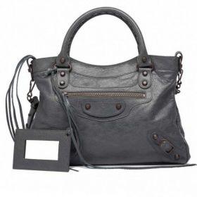Best Balenciaga Gris Tarmac Classic Town Brass Zipper Front Pocket Curved Top Ladies Studs Shoulder Bag