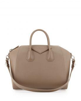 Trapezoid Shape Givenchy Antigona Flat Shoulder Strap Zipper Top Sand Leather Female Medium Crossbody Bag BB05118012-284