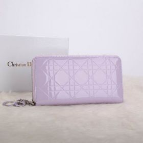 Wholesale Christian Dior Escapade Cannage-pattern Leather Lavender Logo Charms Wallet  Around-Zipper Design USA Style E-Shop