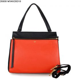 High Quality Celine Edge Golden Hardware Top Zip Closure Womens Bi-color Tote Bag Orange/Black